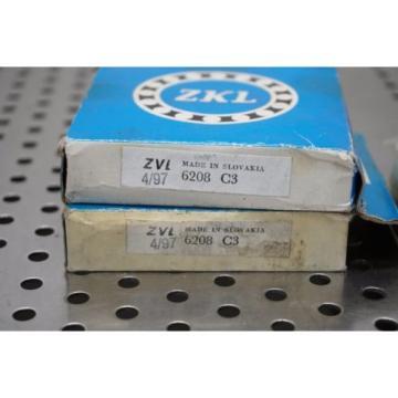 ZKL Sinapore ZVL 6208 C3 SINGLE ROW BALL BEARING NO SHIELD 6208C3 6208 C3  Qty 2