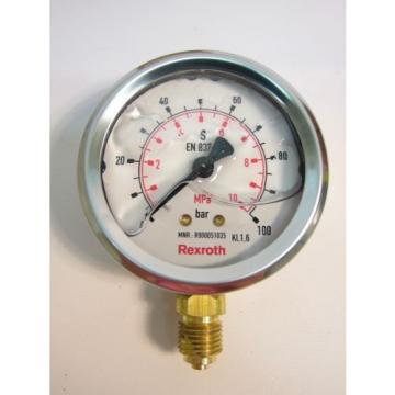 Bosch Rexroth R900051035 ABZMM63 Manometer Pressure Gauge 100 Bar/MPA
